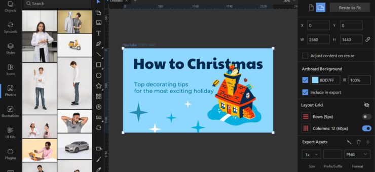 How to Make YouTube Thumbnail for Christmas Video in Lunacy
