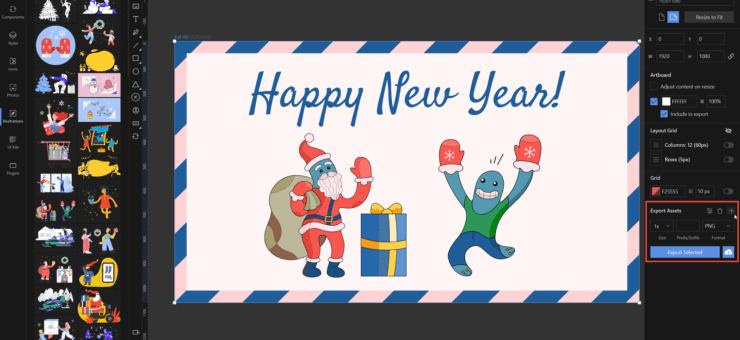 How to Create a New Year Card with Custom Illustrations in Lunacy