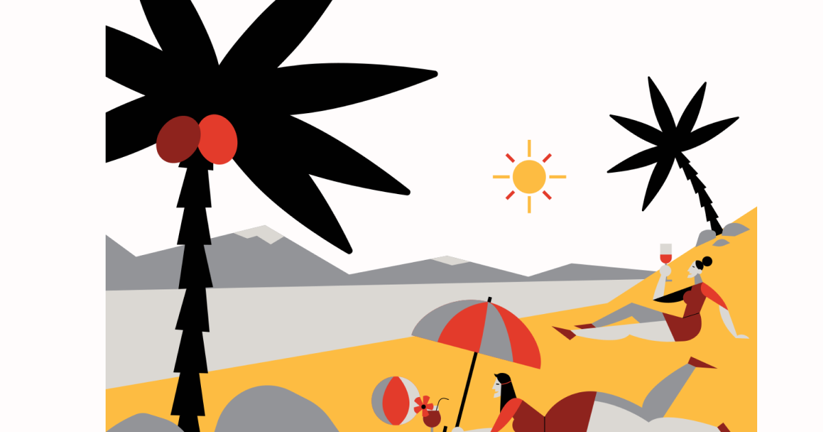 Sunkissed: a collection of refreshing summer illustrations: Resort in Burgundy style