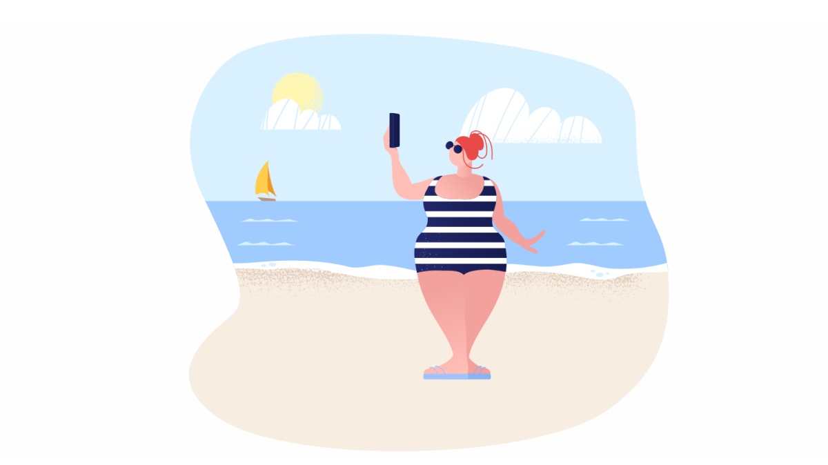Sunkissed: a collection of refreshing summer illustrations:Sunbathing with the phone in Clip style