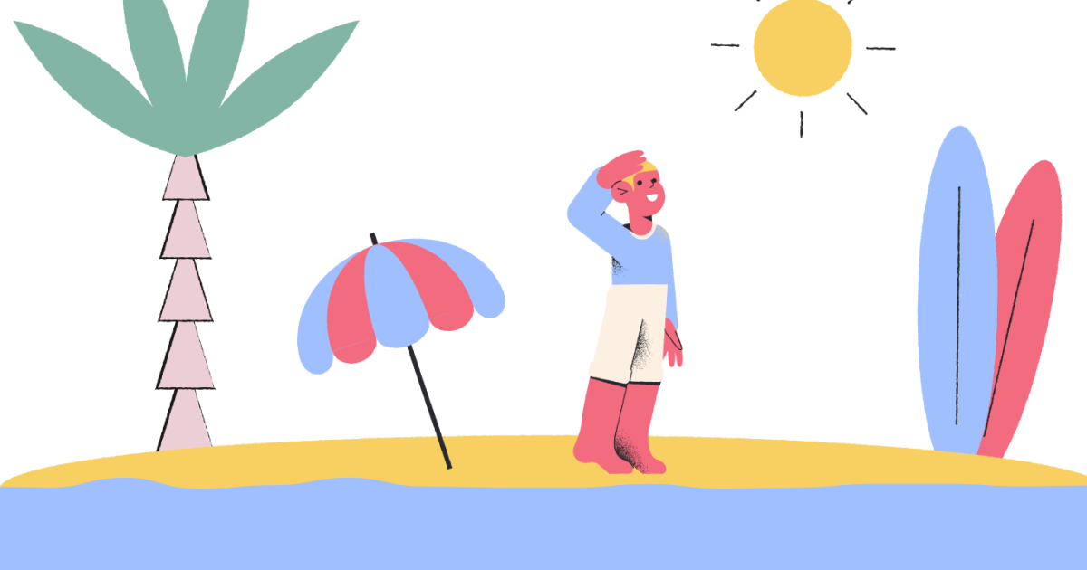 Sunkissed: a collection of refreshing summer illustrations:Beach in Pablo style