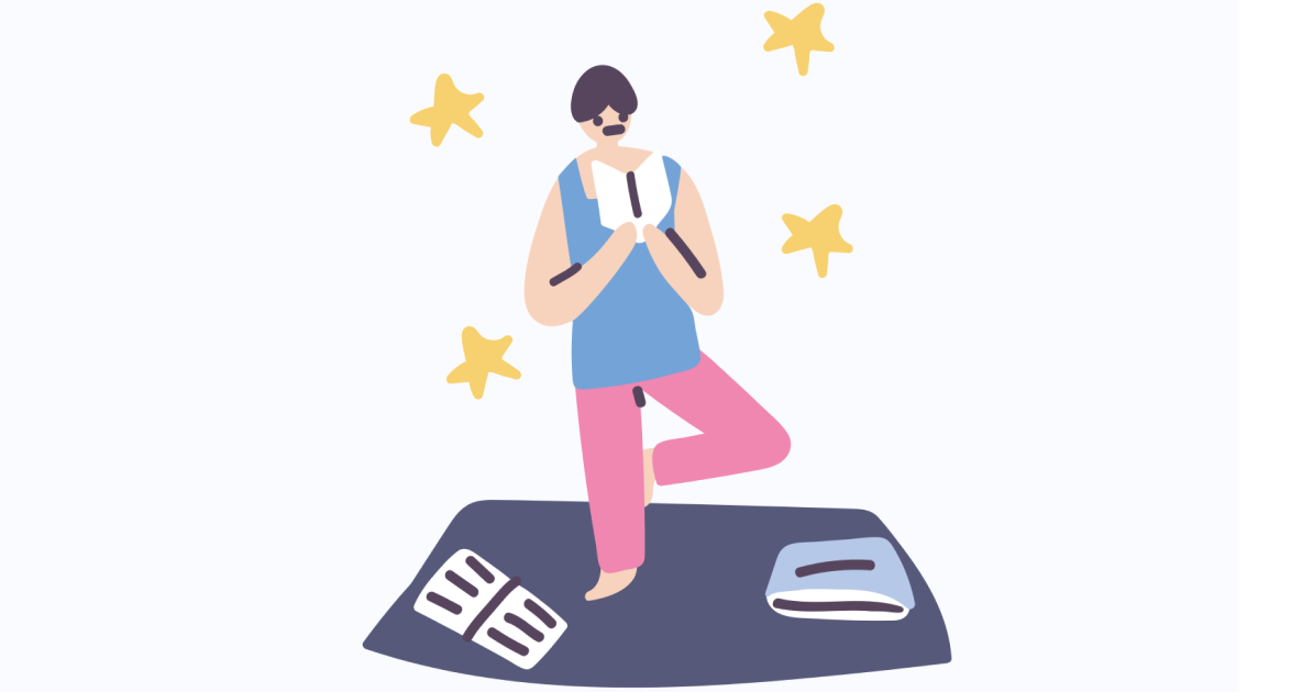 Get calm: enjoy the graphic set for the Yoga And Meditation day. Reading books while meditating