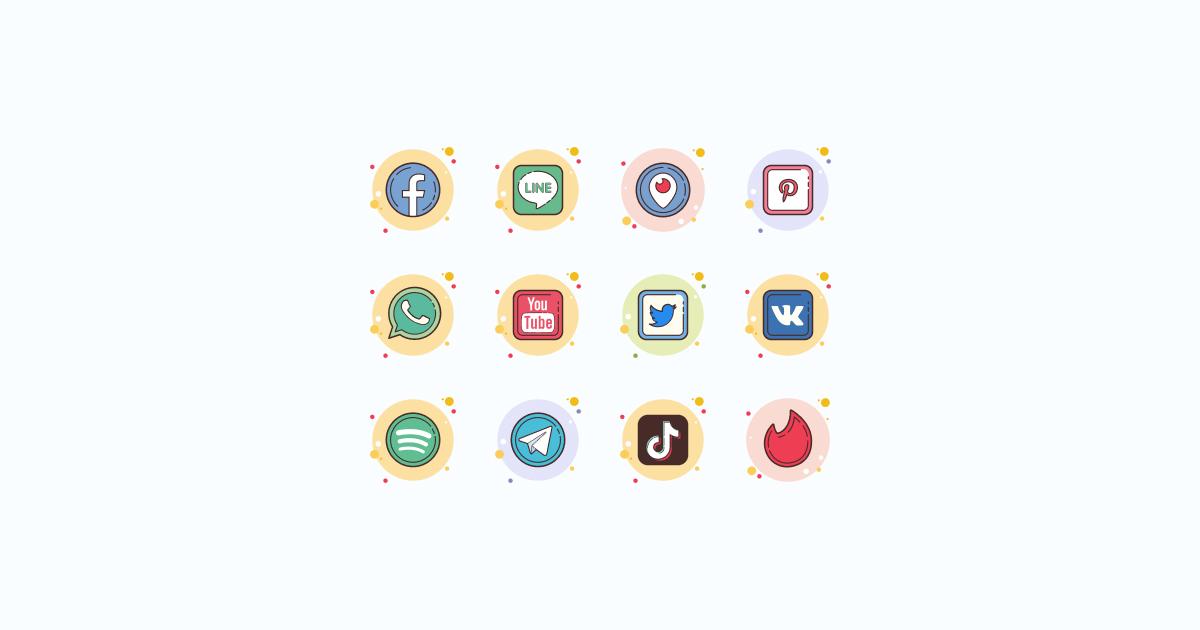 Like, Share, Repost: an ultimate bundle of eye-catching graphics for Social Media Day: icons set in Circle Bubbles style on light blue background