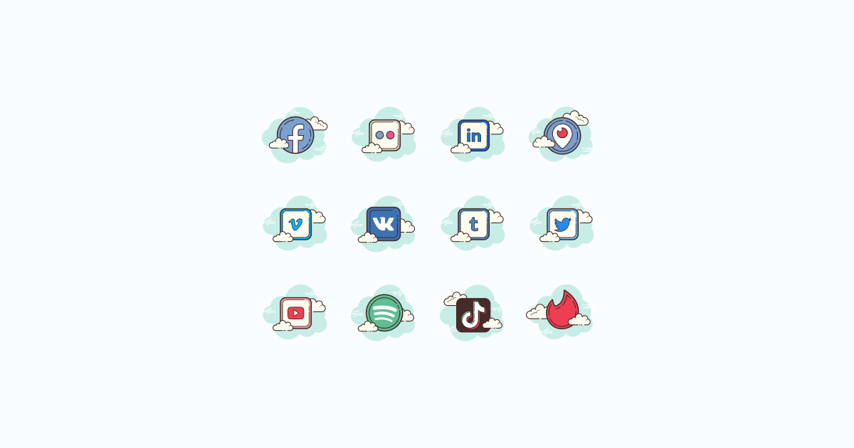 Like, Share, Repost: an ultimate bundle of eye-catching graphics for Social Media Day: icons set in Cloud style on light blue background