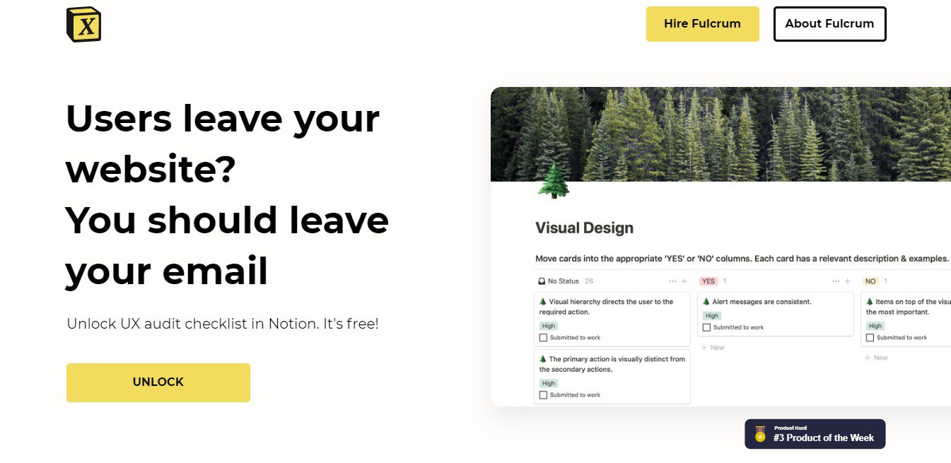 DIY UX audit: how to conduct one on your website to improve user experience: Fulcrum's UX Audit Kit page