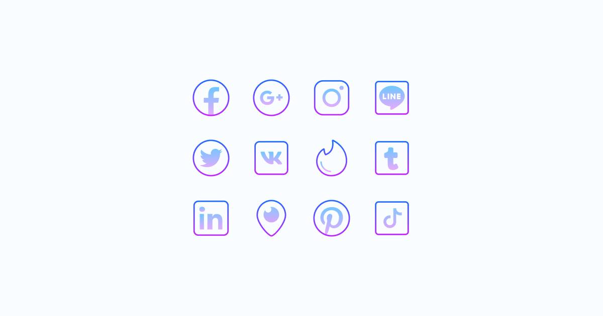 Like, Share, Repost: an ultimate bundle of eye-catching graphics for Social Media Day: icons set in Gradient style on light blue background