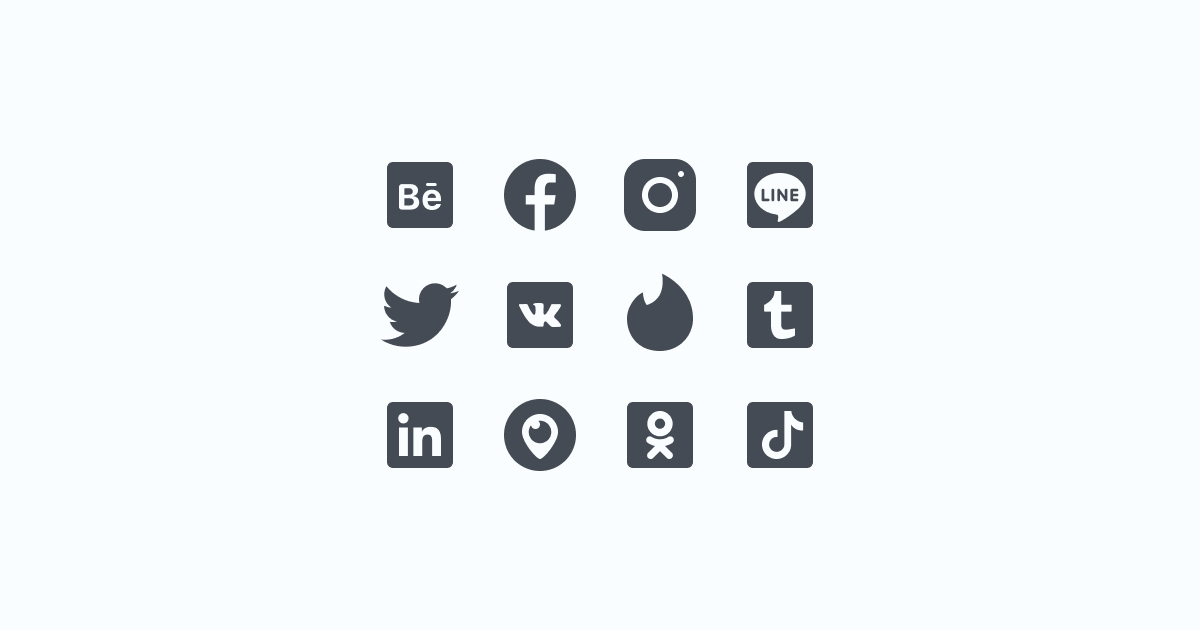 Like, Share, Repost: an ultimate bundle of eye-catching graphics for Social Media Day: icons set in iOS Glyph style on light blue background