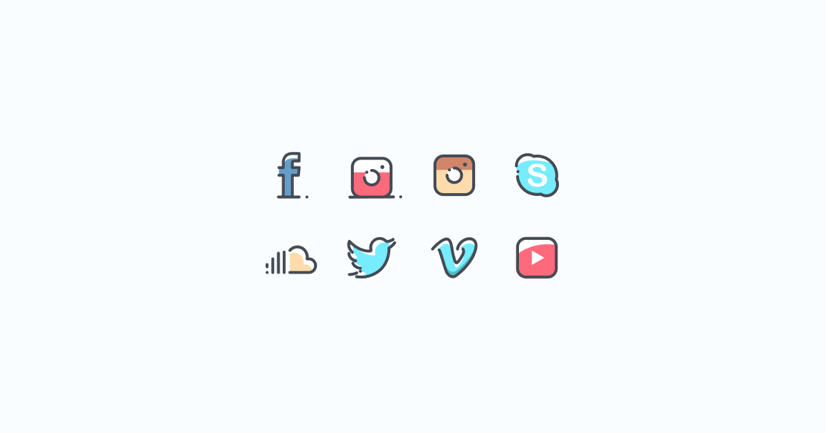 Like, Share, Repost: an ultimate bundle of eye-catching graphics for Social Media Day: icons set in Pastel style on light blue background