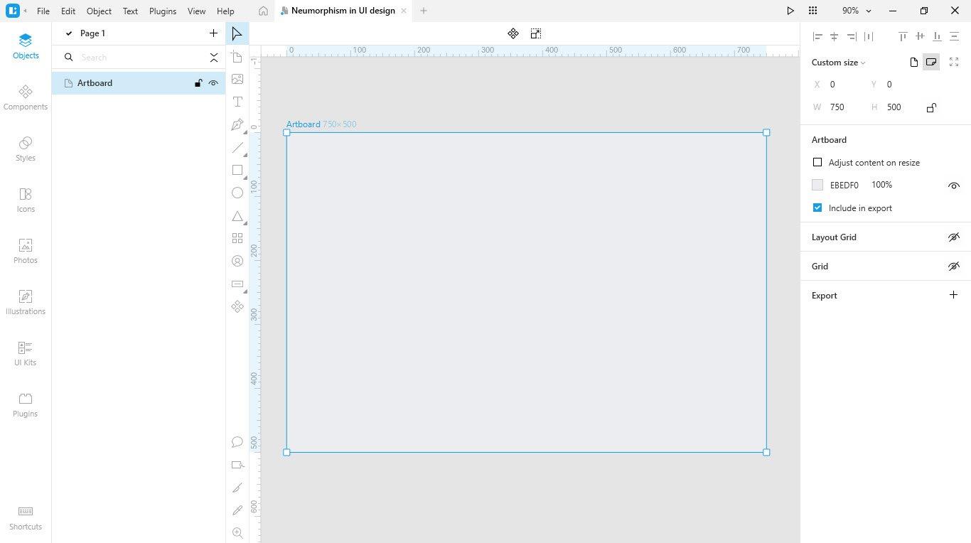 Lunacy tutorial: Neumorphism in UI design: Creating a panel