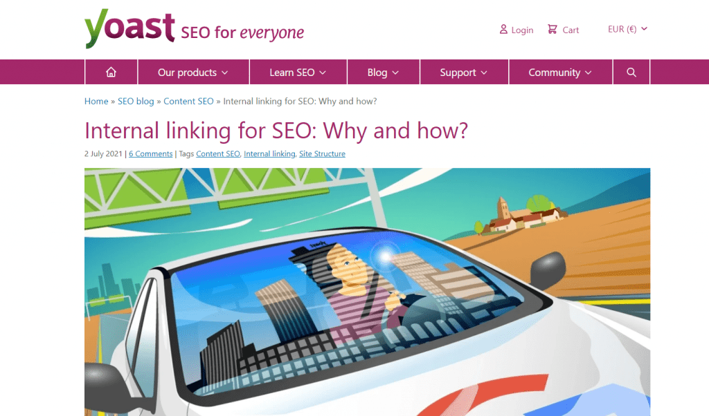 """What SEO metrics a UX designer should focus on: A Yoast article titled """"internal linking for SEO: How and why?"""