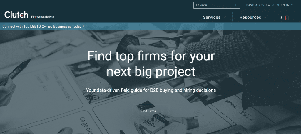 """What SEO metrics a UX designer should focus on: A website that reads """"find top firms for your next big project."""""""