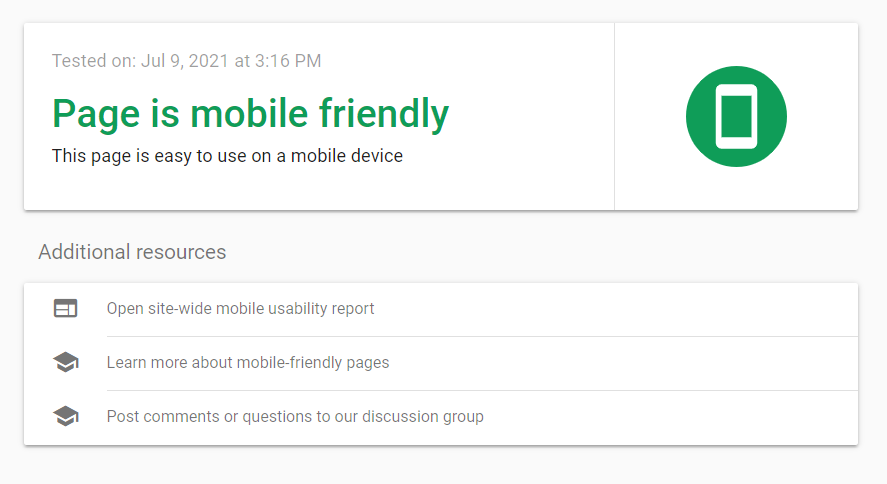 """What SEO metrics a UX designer should focus on: A mobile-friendliness test that reads """"page is mobile-friendly"""" next to a green mobile phone icon."""