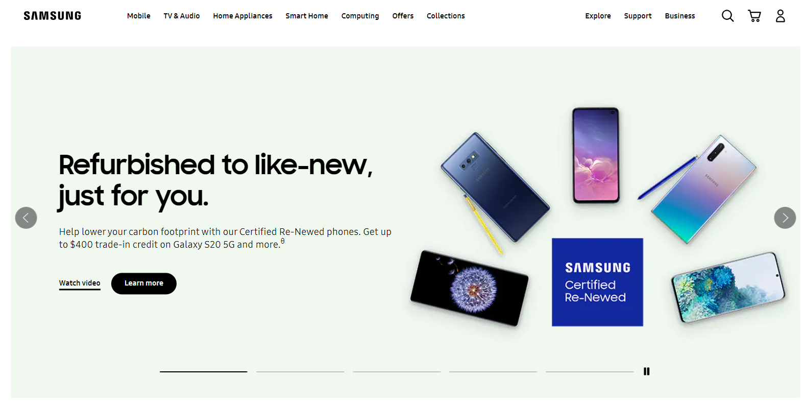 Things I Learned About Language Usage in Multilingual UI Design: Samsung home page in the USA