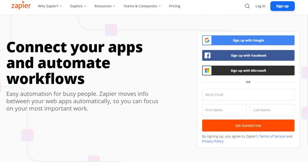 """What SEO metrics a UX designer should focus on: A website that reads """"connect your apps and automate workflows."""""""