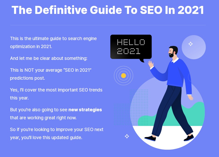 """What SEO metrics a UX designer should focus on: An article introduction that reads """"the definitive guide to SEO in 2021"""" over the icon of a person who says """"hello 2021""""."""